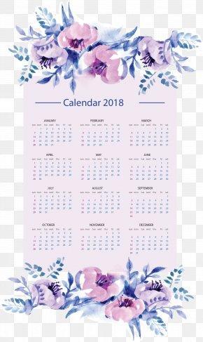 Vector Hand Painted 2018 Calendar - Calendar Year PNG