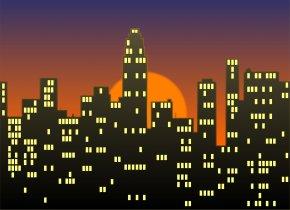 Cityscape Cliparts - New York City Cityscape Skyline Night Clip Art PNG