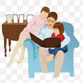 A Man Sitting On The Couch - Child Mother Cartoon Illustration PNG