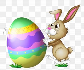 Easter Bunny With Egg Transparent Clipart - Easter Bunny Clip Art PNG
