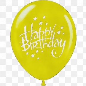 Party Supply Yellow - Happy Birthday Text PNG