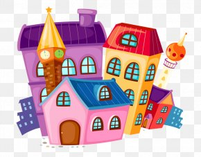 Color Cartoon House - House Cartoon Building Royalty-free PNG