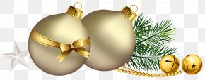 Christmas Balls With Pine Branch And Star Clipart PNG