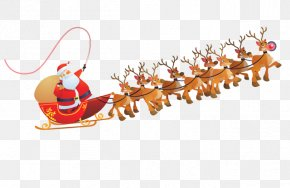 Santa Claus Transparent Images - Santa Claus Reindeer Sled Clip Art PNG