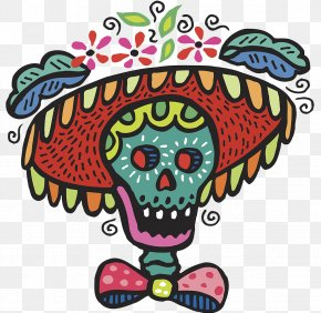 Halloween Traditional Pattern Skull Bones - Calavera Day Of The Dead Human Skull Symbolism Clip Art PNG
