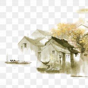 Water - Dwelling In The Fuchun Mountains Jiangnan Ink Wash Painting Shan Shui Chinese Painting PNG