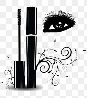 Hand Painted Black Eye Makeup - Eyelash Extensions Brush Clip Art PNG