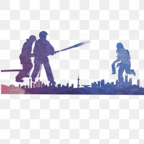 Colorful Firefighter Silhouette,Graffiti - Firefighter Firefighting PNG