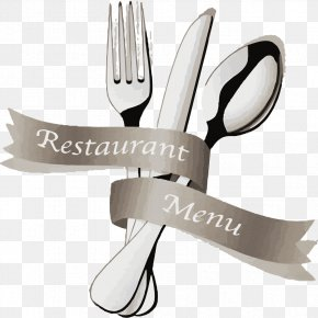 Retro Ribbon With Knife And Fork - European Cuisine Menu Fork Restaurant PNG