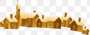 A Plurality Of Small Yellow House Castle Pattern - Christmas House PNG
