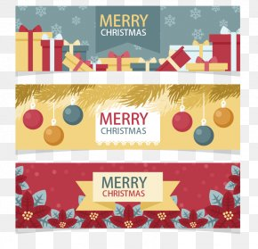 Three Holiday Banners - Christmas Holiday Euclidean Vector Wish PNG