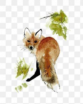 Fox - Red Fox Watercolor Painting Drawing Art PNG