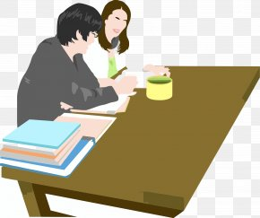 Two Teachers Together Prepare Lessons - Table Cartoon Teacher Illustration PNG