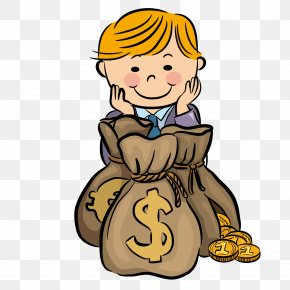 Look At The Money Bag Boy - Money Download Cartoon PNG