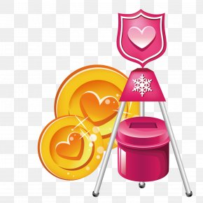Yellow Heart-shaped Plate And Trash Can - Yellow Graphic Design Illustration PNG