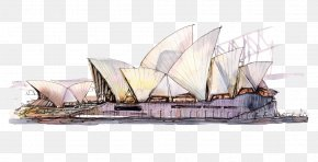 Hand-painted Sydney Opera House - Sydney Opera House Watercolor Painting Poster PNG