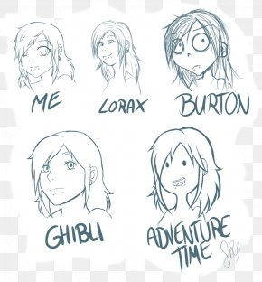 Different Style - Sketch Drawing Ear Line Art Human Hair Color PNG