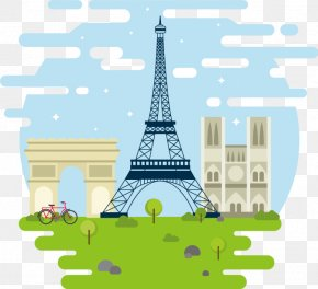 Hand-drawn Element Vector Paris - Eiffel Tower Arc De Triomphe Monument Clip Art PNG