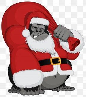 Monkey Santa Clipart Image - Santa Claus Père Noël Father Christmas PNG