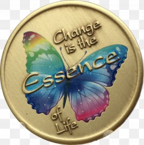 Gold Plate - Butterfly Serenity Prayer Color Insect PNG