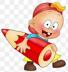 Little Boy With Pencil Cartoon Free Clipart - New Year's Eve Writing Joke Clip Art PNG
