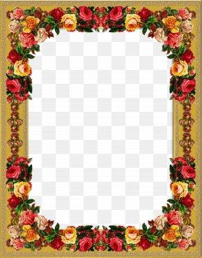 Vintage Rose Frame - Picture Frames PNG