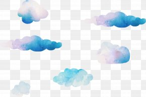 Dream Watercolor Clouds Vector - Blue Sky Cloud Computer Wallpaper PNG