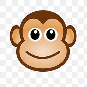 Big Face Monkey - Monkey Cartoon Drawing Chimpanzee Clip Art PNG