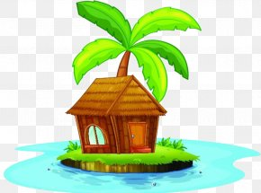 There Is A Small House On The Island - Nipa Hut Clip Art PNG