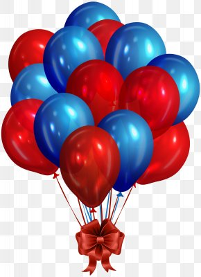 Blue Red Bunch Of Balloons Clip Art Image - Balloon Blue Clip Art PNG