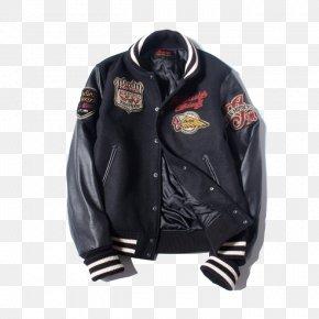 Baseball Stitching Leather Jacket - Leather Jacket Hoodie Outerwear Baseball PNG