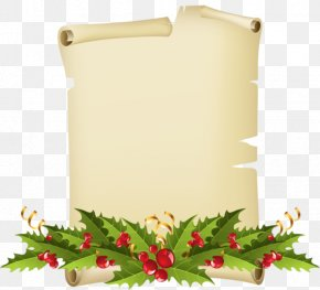 Christmas - Paper Parchment Mistletoe Common Holly Clip Art PNG