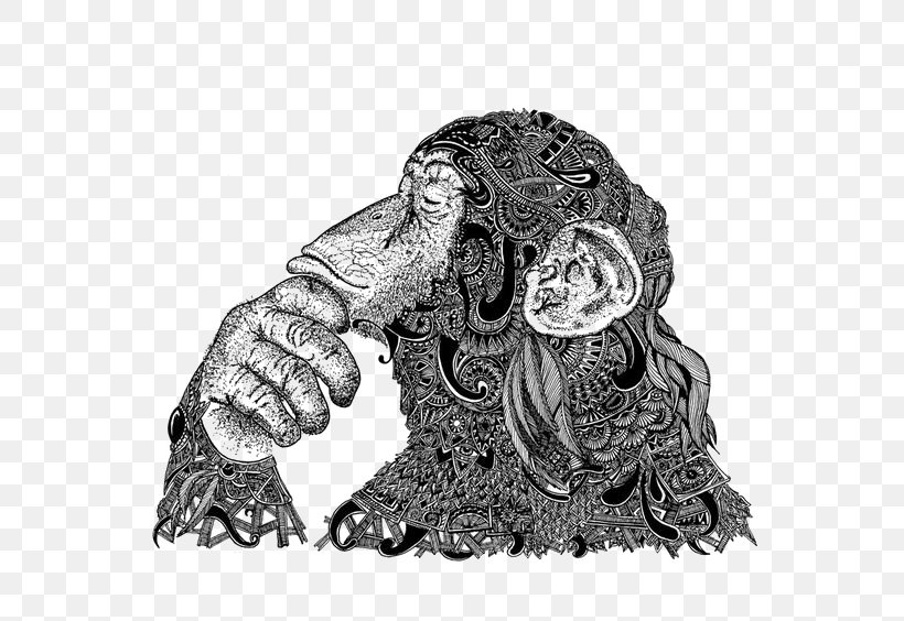 Orangutan Gorilla Visual Arts Drawing, PNG, 564x564px, Orangutan, Art, Black And White, Drawing, Gorilla Download Free