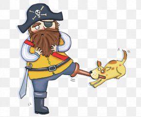 Cartoon Bearded Pirate Lame Dog Bites - Dog Drawing Piracy Illustration PNG