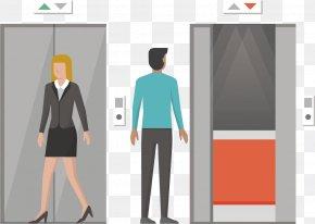 Elevator Men And Women - Elevator Cartoon Icon PNG