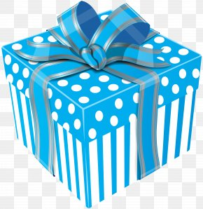 Cute Blue Gift Box Transparent Clip Art Image - Gift Wrapping Box Clip Art PNG