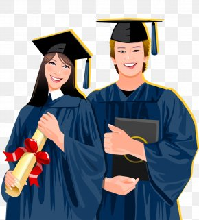 Hand Drawn Graduation Wear Bachelor's Clothing Student Vector - Student Graduation Ceremony Academic Dress Stock Illustration Clip Art PNG