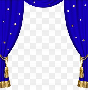 Transparent Blue Curtains With Gold Tassels And Stars - Window Blind Curtain Blue PNG