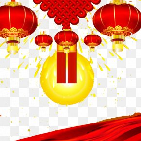 Chinese New Year Festive Lanterns Chinese Knot Background - Handan Public Holiday New Years Day Chinese New Year December 31 PNG