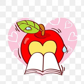 Books And Apple - O-ring Heart Stock Illustration PNG