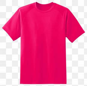 T Shirt - T-shirt Red Pink Sleeve PNG