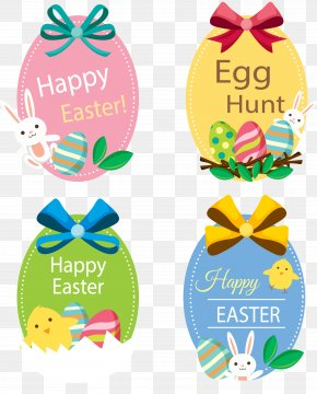 Vector Hand-painted Easter Label - Easter Bunny Paper Easter Egg PNG
