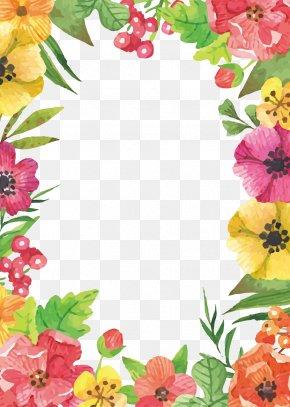 Watercolor Flowers Border - Flower Wallpaper PNG