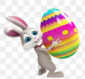 Easter Bunny With Colorful Egg Transparent Clipart - Easter Bunny Clip Art PNG