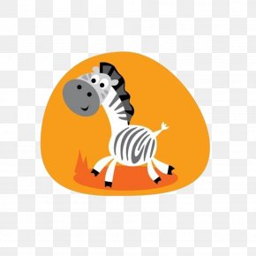 Small Zebra Pull On An Orange Background Material Free - Cuteness Cartoon Illustration PNG