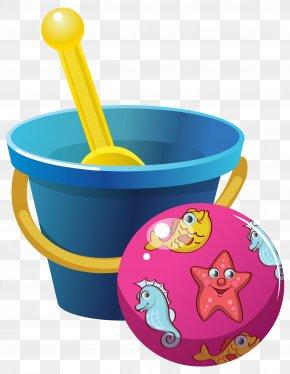 Beach Bucket And Ball Clipart Image - Bucket Shovel Clip Art PNG