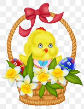Easter Basket With Eggs Chicken And Daffodils Picture - Easter Bunny Chicken Easter Basket Clip Art PNG