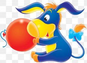 Holding Balloons Little Donkey - Digital Image Clip Art PNG