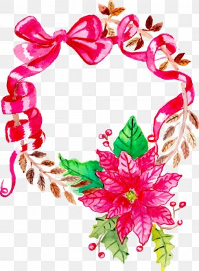 Hand-painted Christmas Wreath - Wreath Christmas Floral Design Flower Bouquet PNG