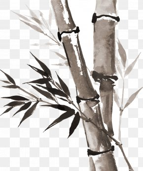 Ink Style Bamboo - Ink Wash Painting Drawing Bamboo Inkstick PNG